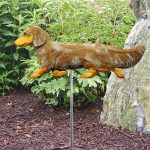 Dachshund-Long-Hair-Outdoor-Garden-Dog-Sign-Hand-Painted-Figure-Red-Dapple-181369653205