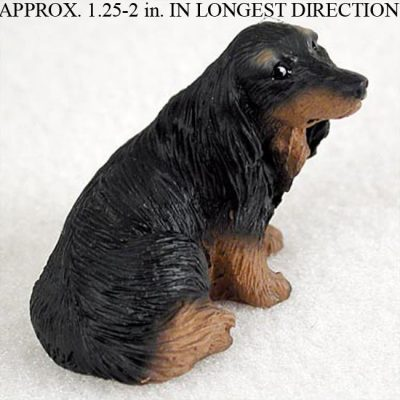 Dachshund Figurine Hand Painted Collectible Statue Black Long Hair