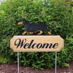 Dachshund-Smooth-Dog-Breed-Oak-Wood-Welcome-Outdoor-Yard-Sign-Black-Tan-400706792337
