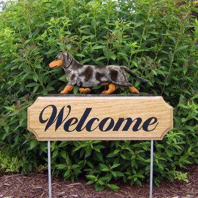 Dachshund-Smooth-Dog-Breed-Oak-Wood-Welcome-Outdoor-Yard-Sign-Blue-Dapple-181404173793