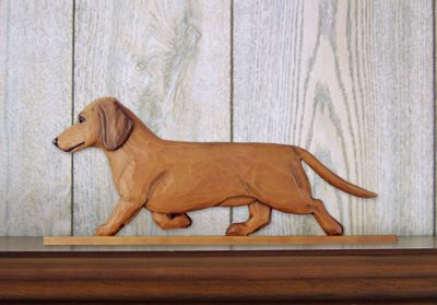 Dachshund-Smooth-Dog-Figurine-Sign-Plaque-Display-Wall-Decoration-Red-181430777659