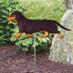 Dachshund-Smooth-Hair-Outdoor-Garden-Dog-Sign-Hand-Painted-Figure-Black-Tan-181369653516