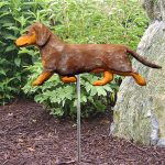 Dachshund-Smooth-Hair-Outdoor-Garden-Dog-Sign-Hand-Painted-Figure-Red-Dapple-400688302543