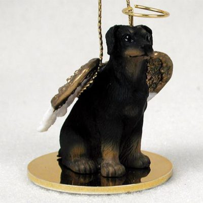 Doberman-Pinscher-Dog-Figurine-Angel-Statue-Hand-Painted-Black-Uncro-180675019327
