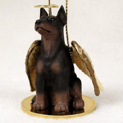 Doberman-Pinscher-Dog-Figurine-Angel-Statue-Hand-Painted-Red-180675003343