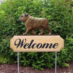 English-Bulldog-Dog-Breed-Oak-Wood-Welcome-Outdoor-Yard-Sign-Brindle-181404176089