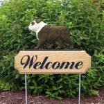 English-Bulldog-Dog-Breed-Oak-Wood-Welcome-Outdoor-Yard-Sign-BrindleWhite-181404176766