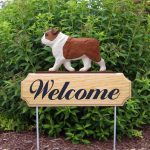English-Bulldog-Dog-Breed-Oak-Wood-Welcome-Outdoor-Yard-Sign-Red-400706793796