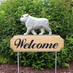 English-Bulldog-Dog-Breed-Oak-Wood-Welcome-Outdoor-Yard-Sign-White-400706794295