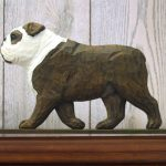 English-Bulldog-Figurine-Sign-Plaque-Display-Wall-Decoration-BrindleWhite-181430779496