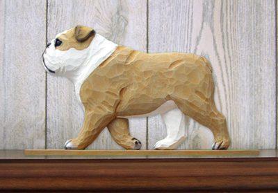 English-Bulldog-Figurine-Sign-Plaque-Display-Wall-Decoration-Tan-181430780375