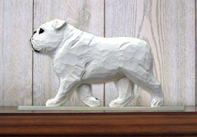 English-Bulldog-Figurine-Sign-Plaque-Display-Wall-Decoration-White-181430780677