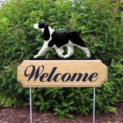 English-Springer-Spaniel-Dog-Breed-Oak-Wood-Welcome-Outdoor-Yard-Sign-Black-181404179281