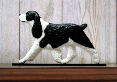 English-Springer-Spaniel-Dog-Figurine-Sign-Plaque-Display-Wall-Decoration-Black-181430780961