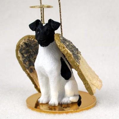 Fox-Terrier-Dog-Figurine-Angel-Statue-Ornament-BlkWht-180741556276