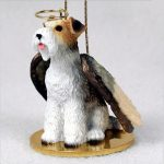 Fox-Terrier-Dog-Figurine-Ornament-Angel-Statue-Hand-Painted-Wire-Hair-181136182947