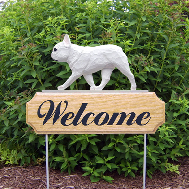 French Bulldog Wood Welcome Outdoor Sign White