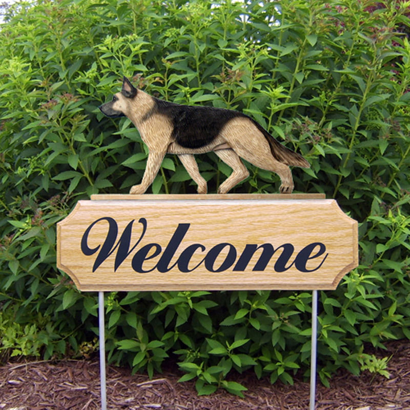 Delicieux German Shepherd Dog Breed Oak Wood Welcome Outdoor Yard Sign Tan W/ Black  Saddle