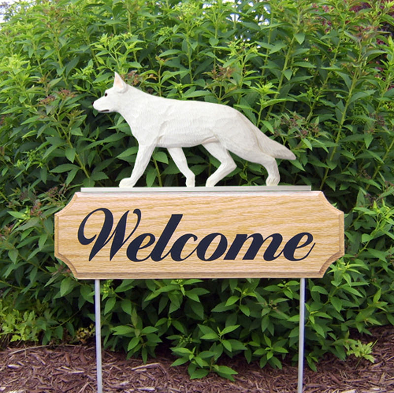 German Shepherd Wood Welcome Outdoor Sign White