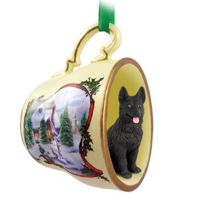 German-Shepherd-Dog-Christmas-Holiday-Teacup-Sleigh-Ornament-Figurine-Black-400325872670