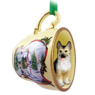 German-Shepherd-Dog-Christmas-Holiday-Teacup-Sleigh-Ornament-Figurine-TanBlk-400325872824