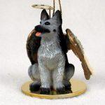 German-Shepherd-Dog-Figurine-Angel-Statue-Hand-Painted-BlackSilver-180675019352