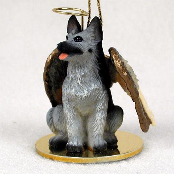 German-Shepherd-Dog-Figurine-Angel-Statue-Hand-Painted-BlackSilver ...