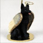 German-Shepherd-Dog-Figurine-Ornament-Angel-Statue-Hand-Painted-Black-181136183267