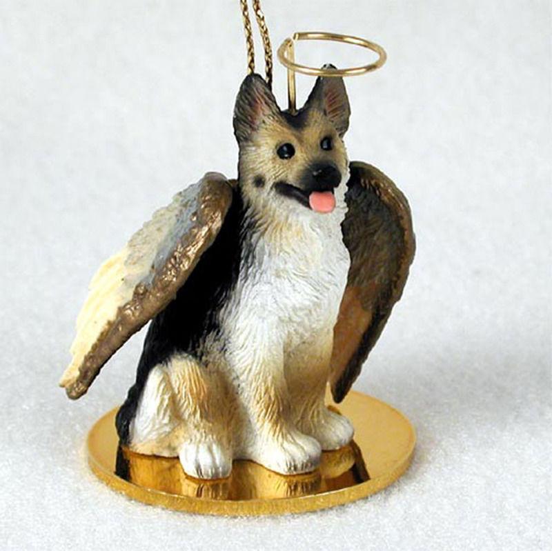 German Shepherd Dog Figurine Ornament Angel Statue Hand Painted Tan Black Ebay