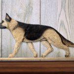 German-Shepherd-Dog-Figurine-Sign-Plaque-Display-Wall-Decoration-Tan-w-Black-Sa-181430787942