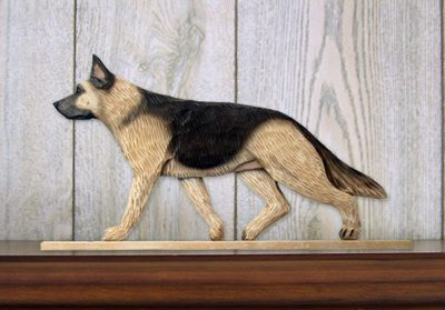 German Shepherd Sign Plaque Wall Decor Tan W Black Sa