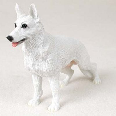German-Shepherd-Hand-Painted-Collectible-Dog-Figurine-Statue-White-180973409687