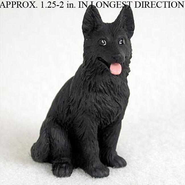 German Shepherd Mini Hand Painted Figurine Black
