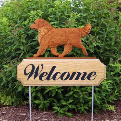 Golden-Retriever-Dog-Breed-Oak-Wood-Welcome-Outdoor-Yard-Sign-Dark-181404186954