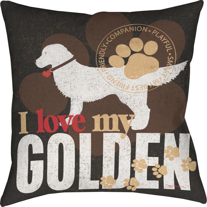Red Dog Throw Pillows : Golden Retriever Dog Throw Pillow 18x18