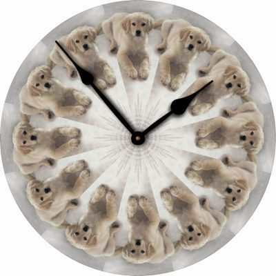 Golden-Retriever-Dog-Wall-Clock-10-Round-Wood-Made-in-USA-181405038135