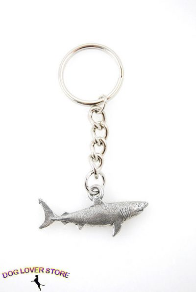 Great-White-Shark-Fine-Pewter-Silver-Keychain-Key-Chain-Ring-400749499708