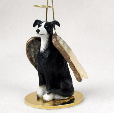 Greyhound-Dog-Figurine-Angel-Statue-Hand-Painted-Black-White-180637634554