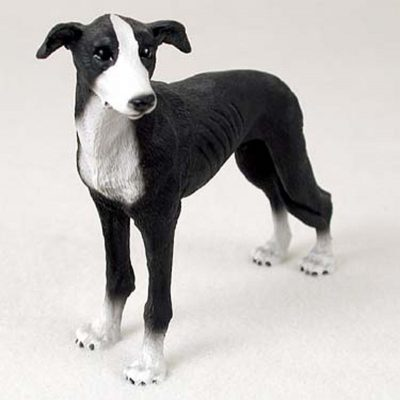 Greyhound-Hand-Painted-Dog-Figurine-Statue-Black-180638148806