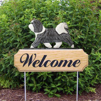Havanese-Dog-Breed-Oak-Wood-Welcome-Outdoor-Yard-Sign-GreyWhite-400706799221