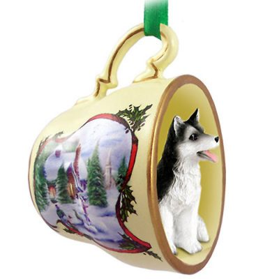 Husky-Dog-Christmas-Holiday-Teacup-Ornament-Figurine-BlkWht-Brwn-Eye-400589047480