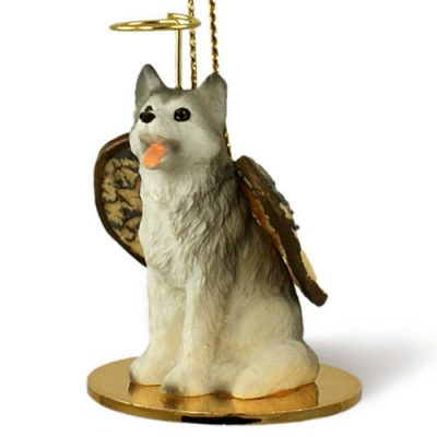 Husky-Dog-Figurine-Angel-Statue-GrayWhite-Brown-Eyes-180842185749