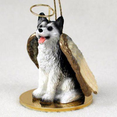 Husky-Dog-Figurine-Angel-Statue-Hand-Painted-Black-White-Brown-Eye-181337612101