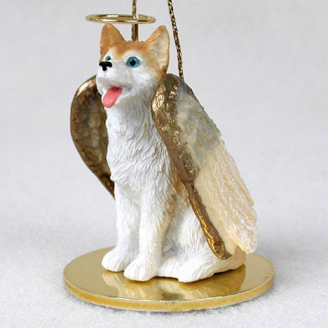 Husky Ornament Angel Figurine Hand Painted Red White Blue Eye