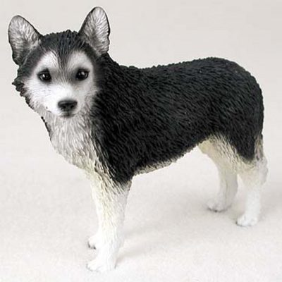 Husky-Hand-Painted-Collectible-Dog-Figurine-BlackWhite-180689145254