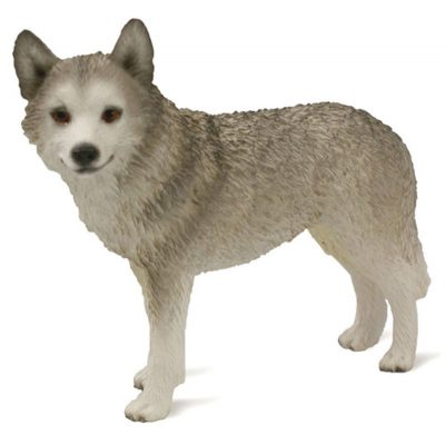 Husky-Hand-Painted-Collectible-Dog-Figurine-GrayWht-Brwn-Eye-400250443494