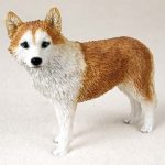 Husky-Hand-Painted-Dog-Figurine-Statue-Red-White-181336550235