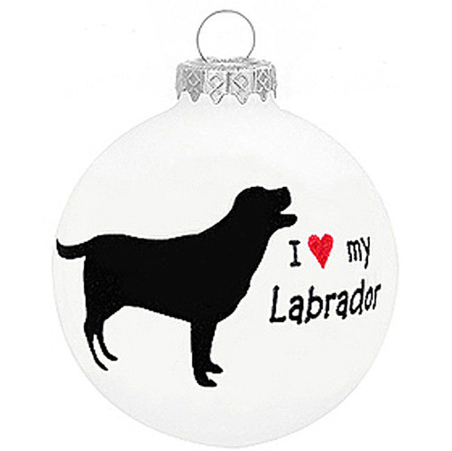i love my labrador glass christmas ornament