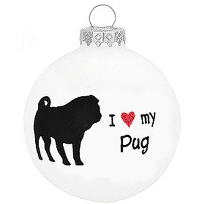 I-Love-My-Pug-Dog-Ornament-Christmas-Holiday-Glass-Personalized-Custom-400247360660