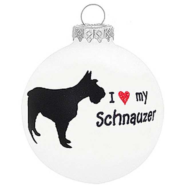- I Love My Schnauzer Glass Christmas Ornament